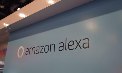 Le logo d'Amazon Alexa au CES 2020 de Las Vegas (Amazon Echo)