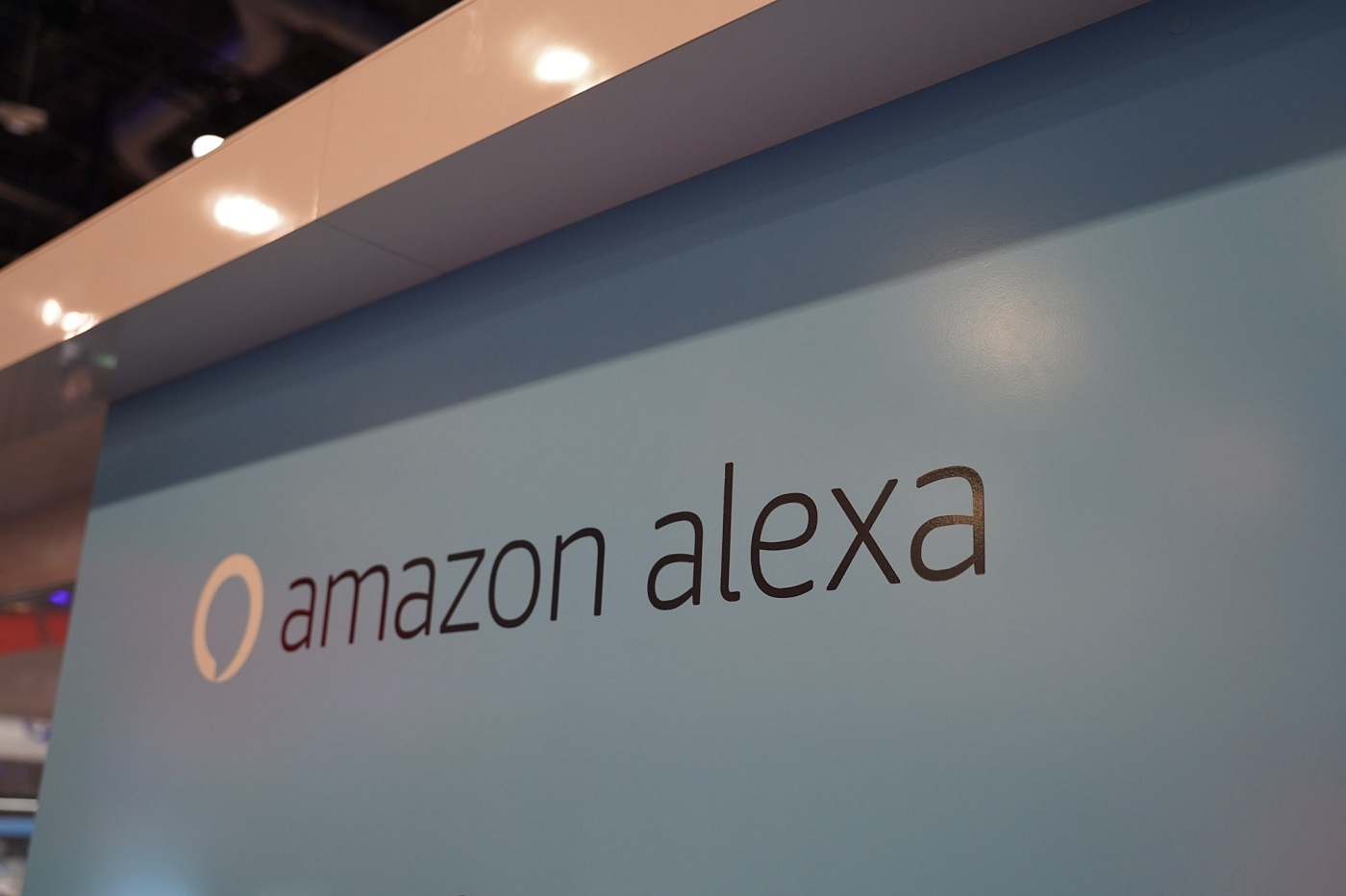 Le logo d'Amazon Alexa au CES 2020 de Las Vegas (Amazon Echo)