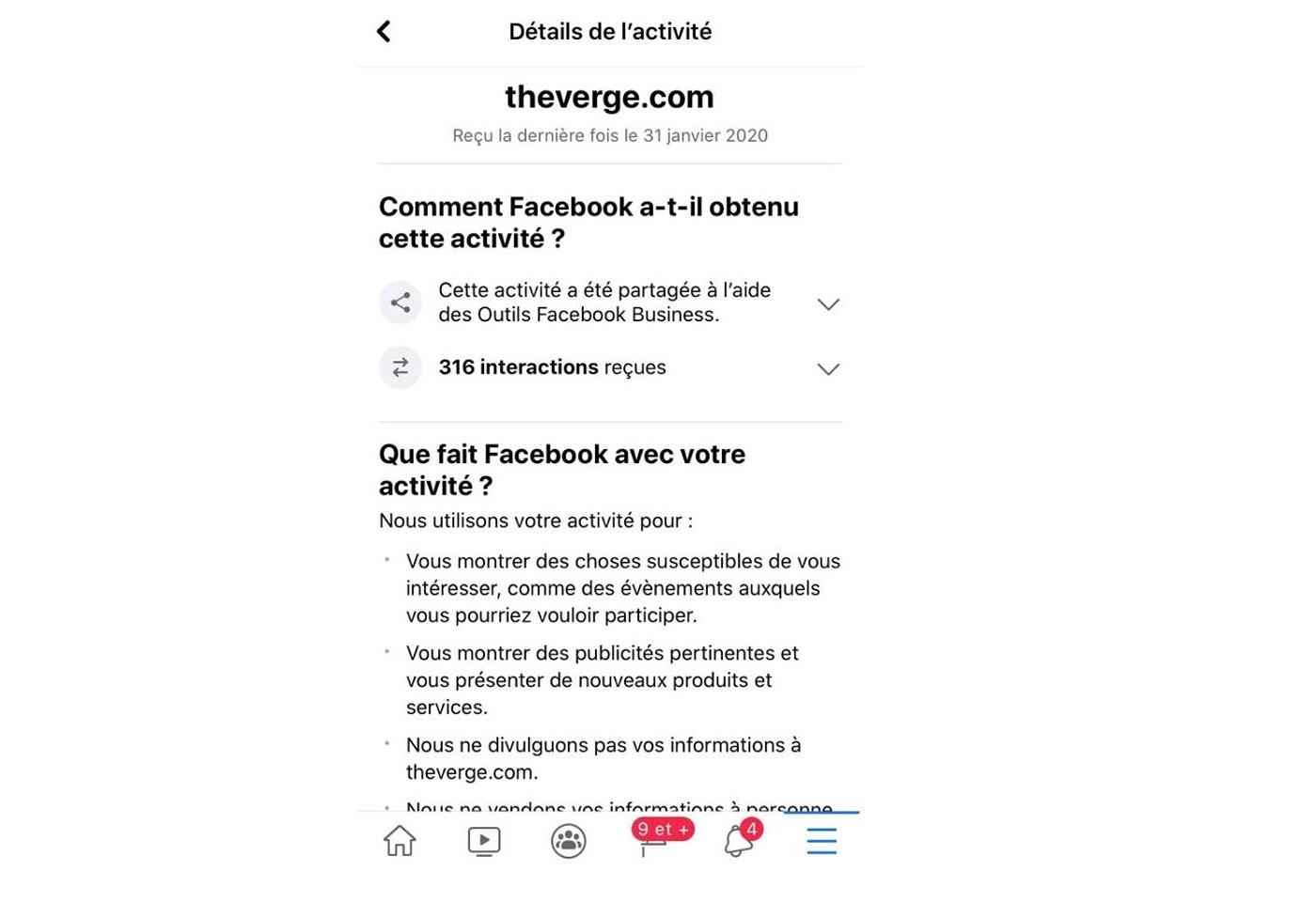 Les activités en dehors de Facebook