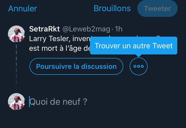 Nouvelle fonctionnalité Twitter
