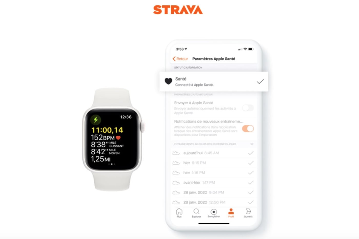 Strava sur Apple Sante