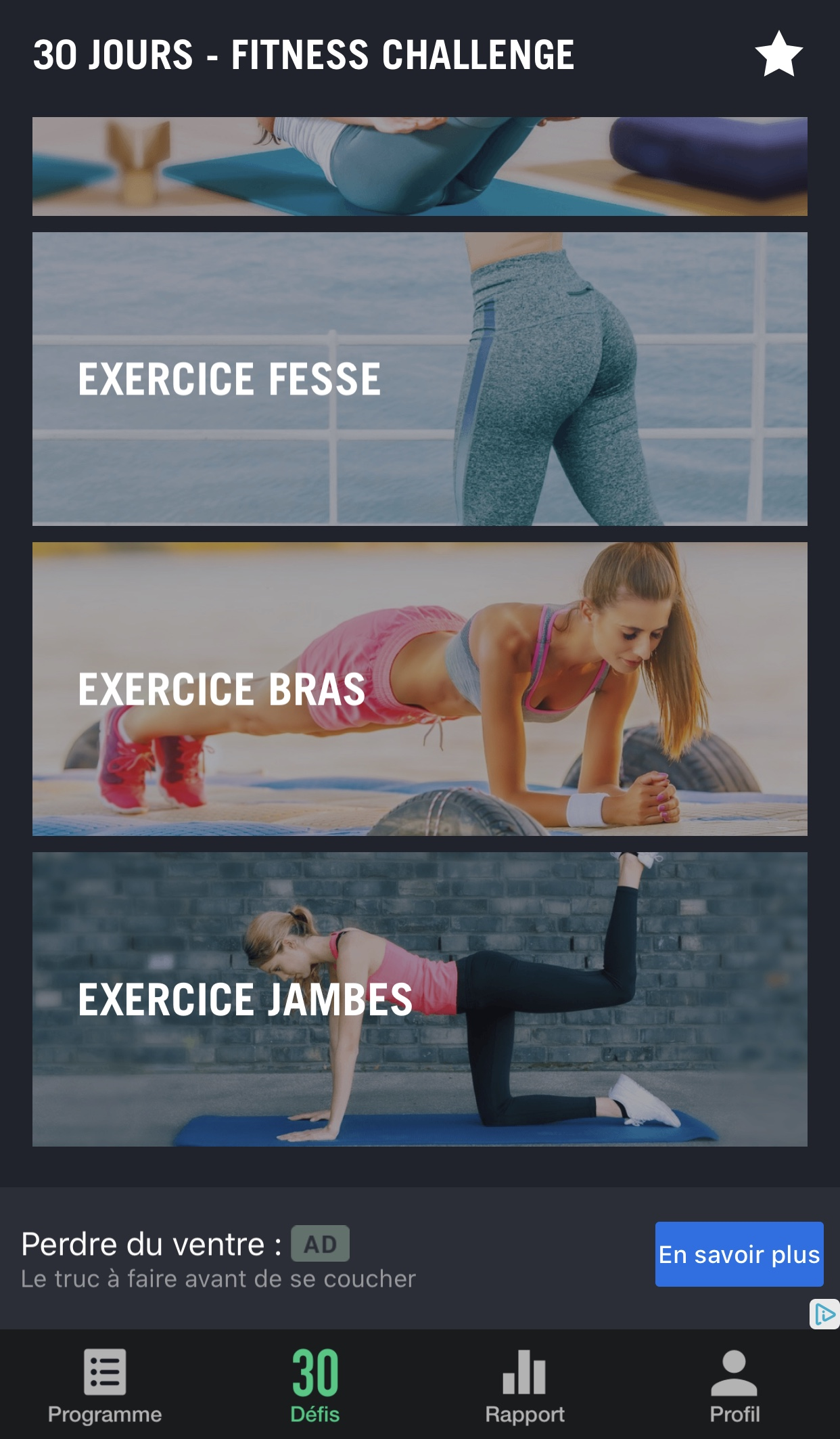 30 jours fitness challenge exercice
