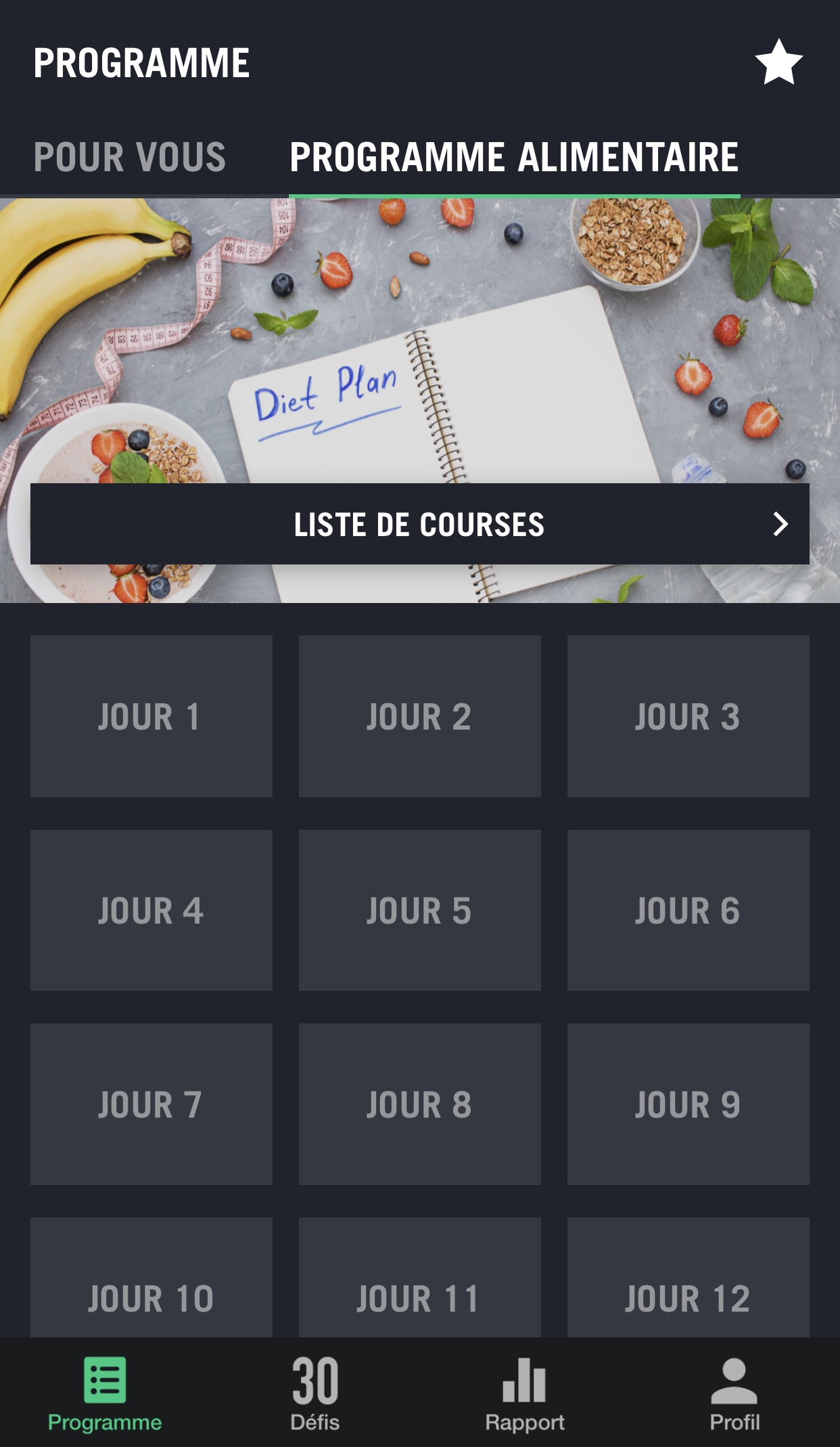 30 jours fitness challenge nutrition