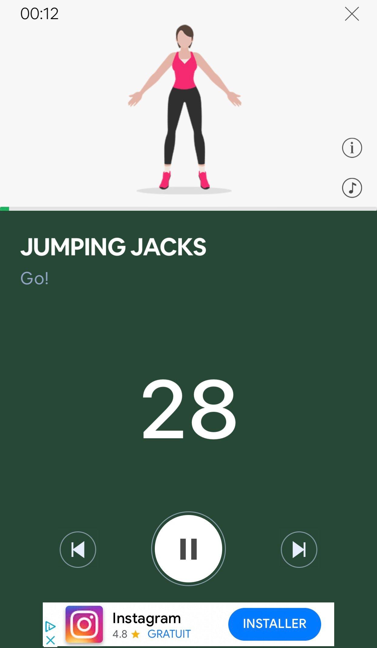 7 minutes workout entraînement en cours