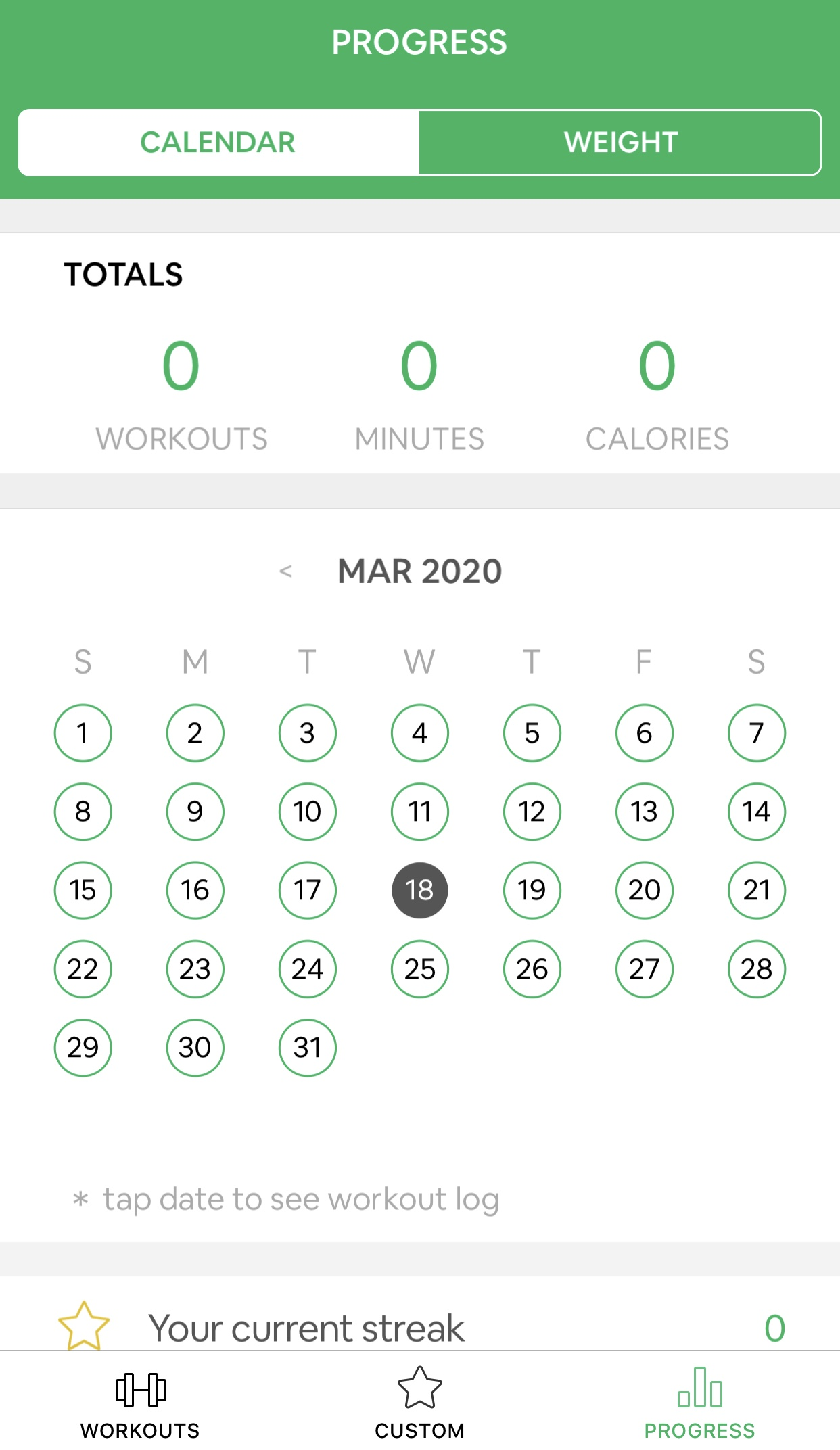 7 minutes workout calendrier