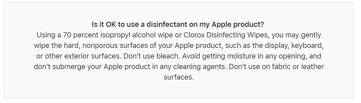 Apple et désinfectant