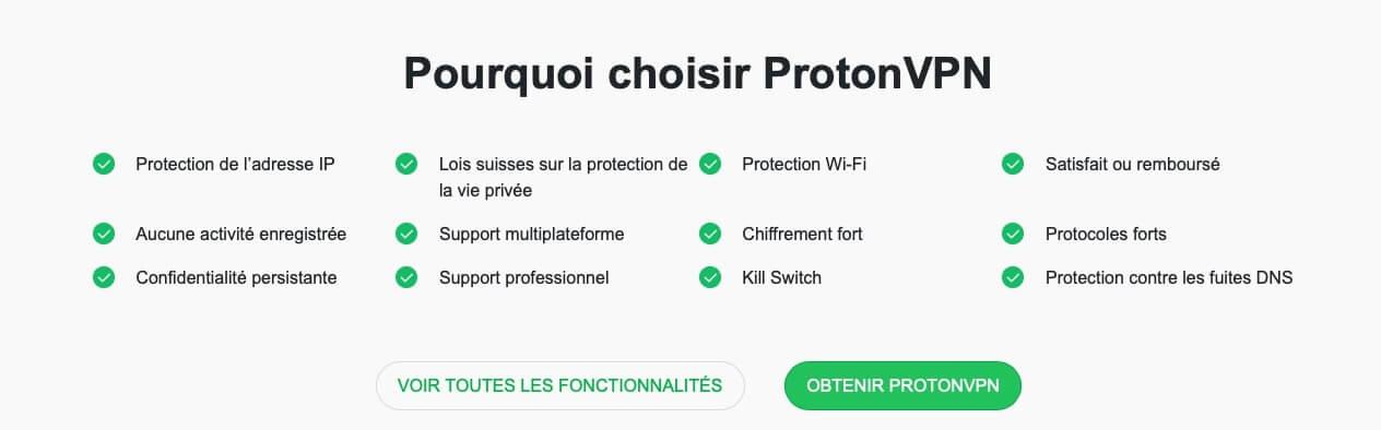Choix avis protonVPN