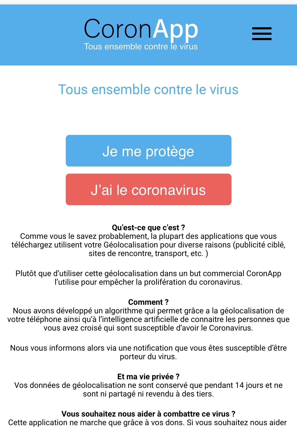 CoronApp coronavirus