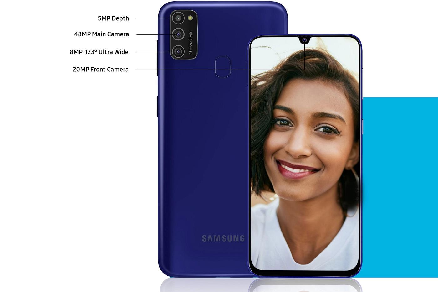 Image promotionelle du Galaxy M21, capture d'écran sur le site indien de Samsung