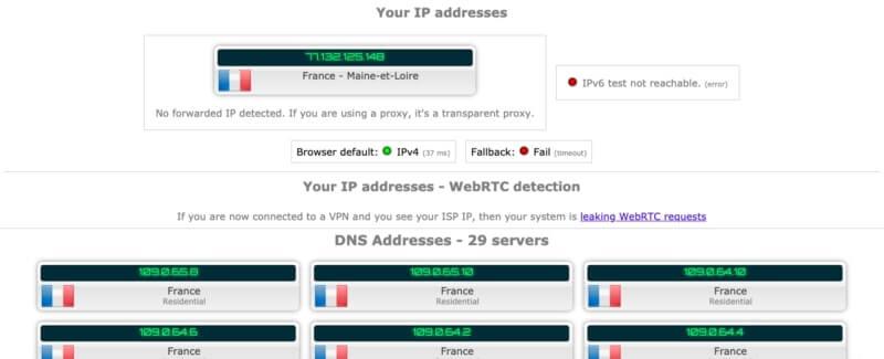 PureVPN test IP