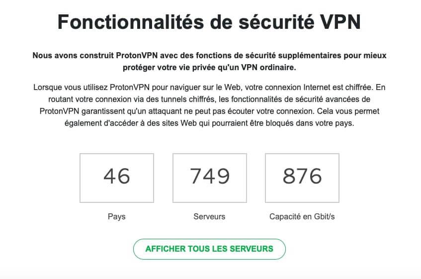 Serveurs ProtonVPN