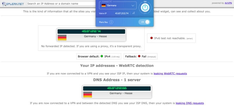 Test IP Windscribe On Allemagne