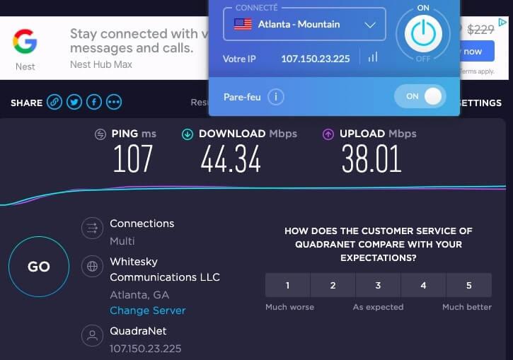 Test vitesse serveur Windscribe USA
