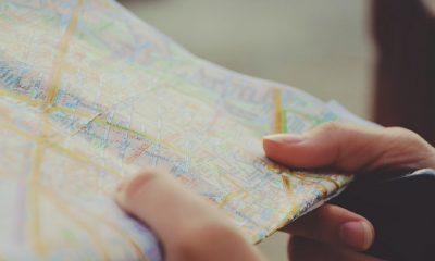 Une carte, ville, géolocalisation, GPS, navigation, emplacement, papier