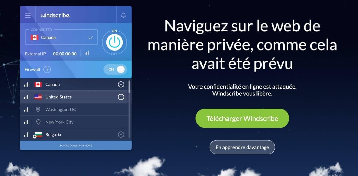 Windscribe VPN gratuit
