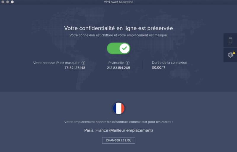 Avast VPN interface