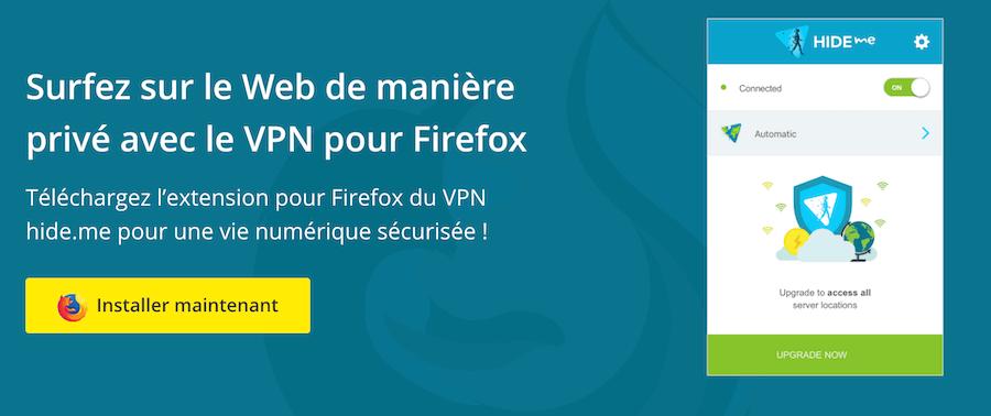 Extension VPN Hide.me Firefox