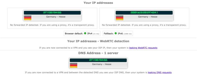 IP test Hideme On