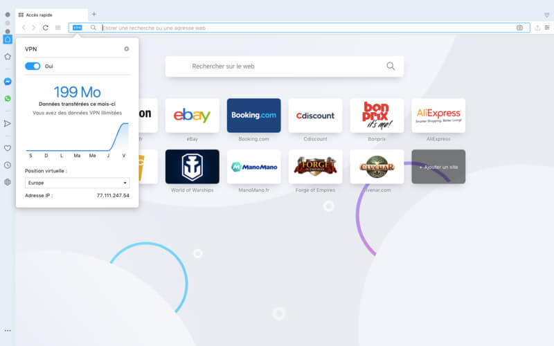 Interface avis Opera VPN