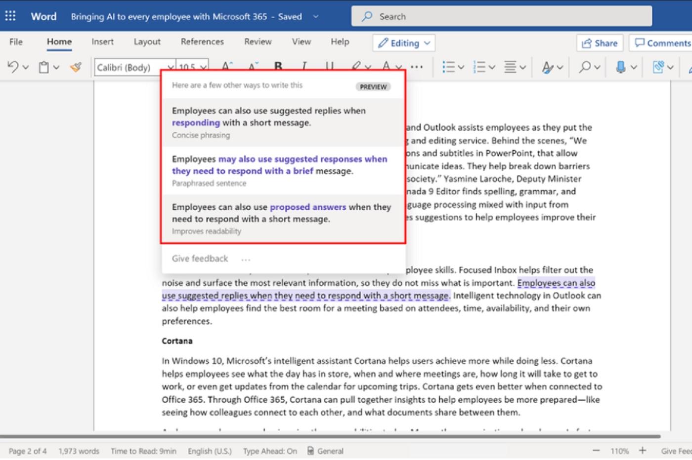 La fonctionnalité Rewrite de Microsoft Word
