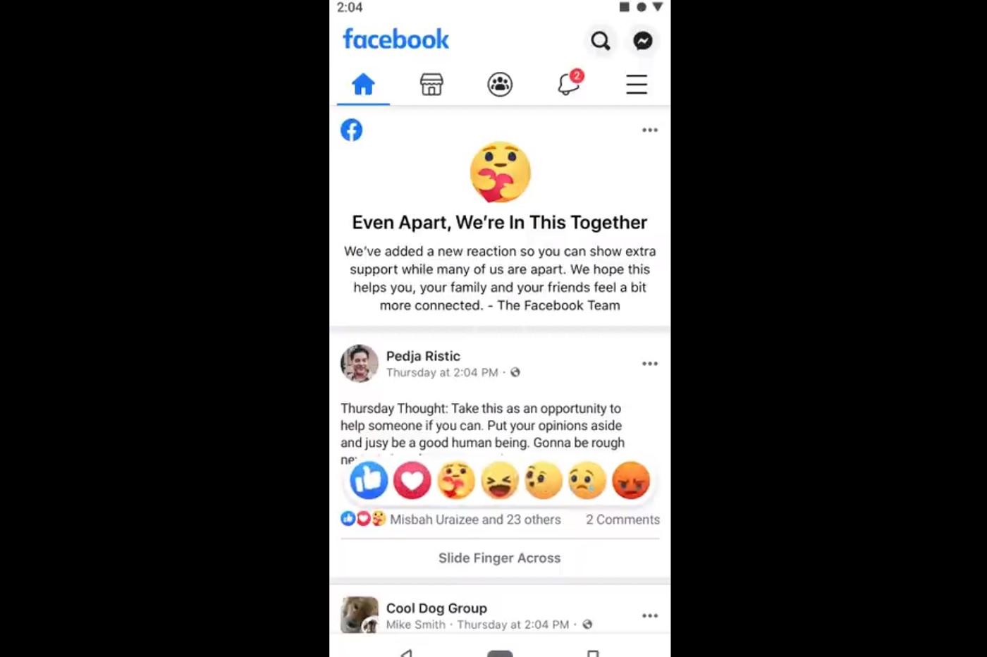 La nouvelle réaction Care de Facebook