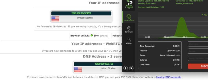 Test IP IPVanish On