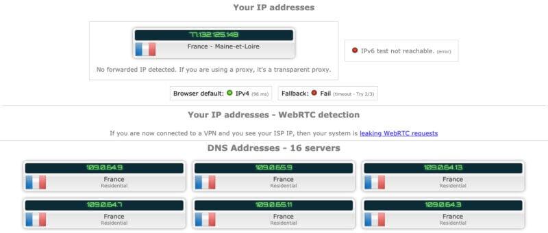 Test IP Kaspersky VPN Off