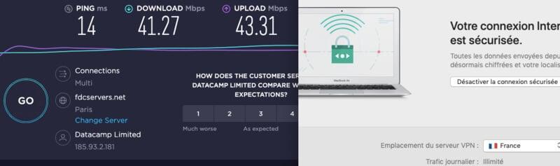 Test vitesses Kaspersky VPN France