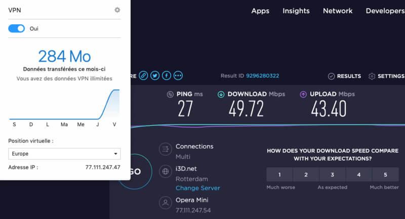 Test vitesses Opera VPN Europ