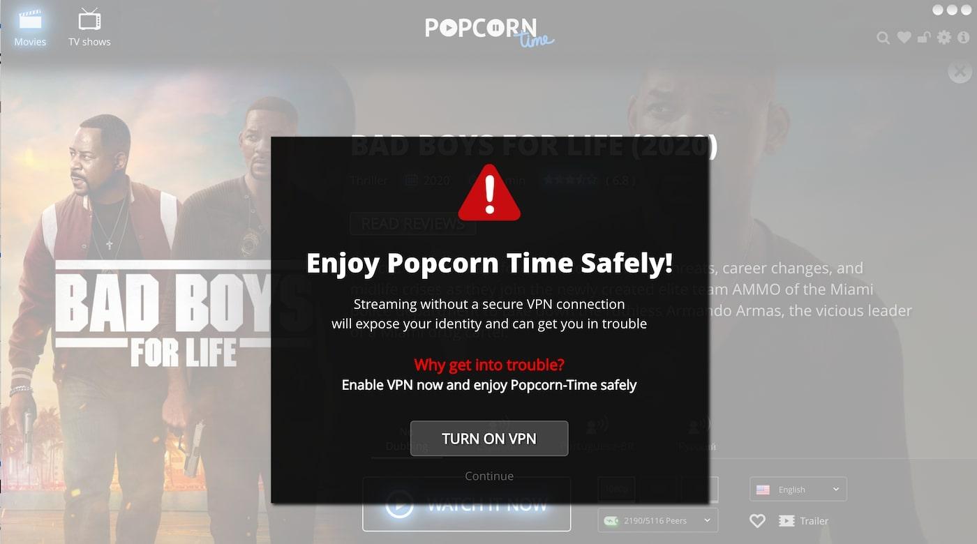 VPN popcorn time