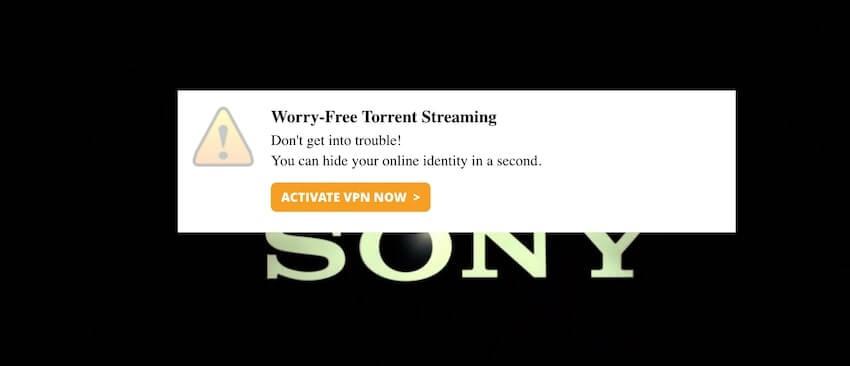 avertissement VPN sur Popcorn Time