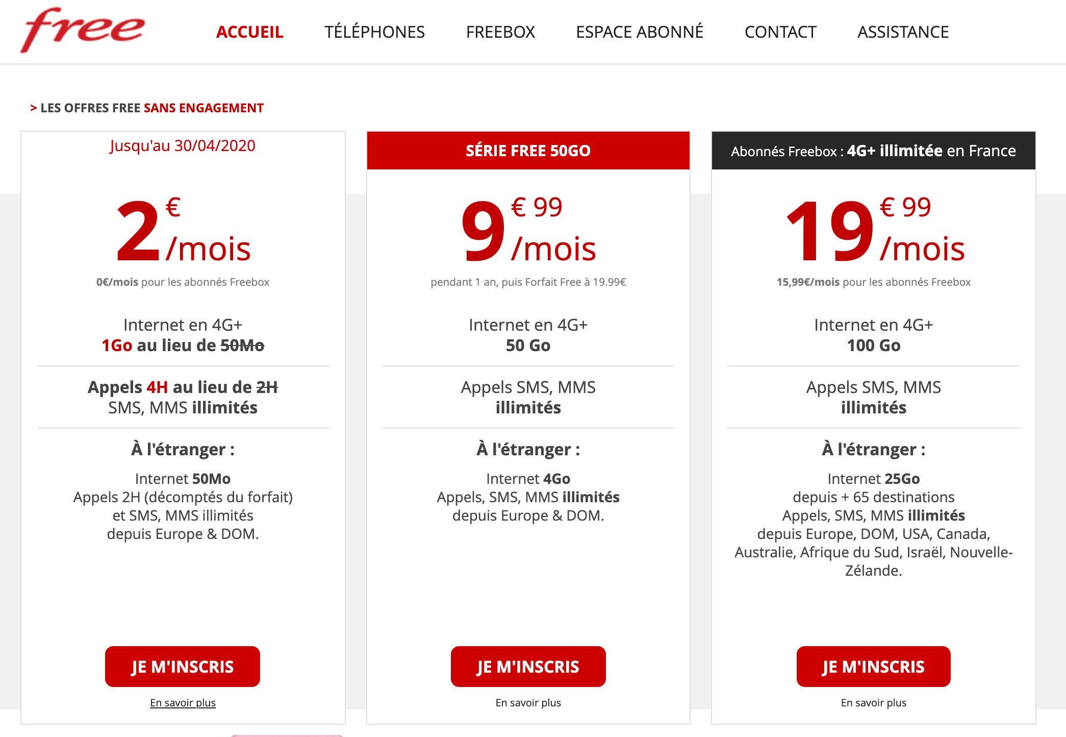 connexion internet forfait free 2 euros
