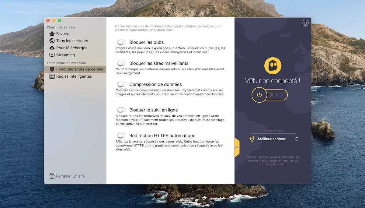 CyberGhost fonctionnalites de connexion