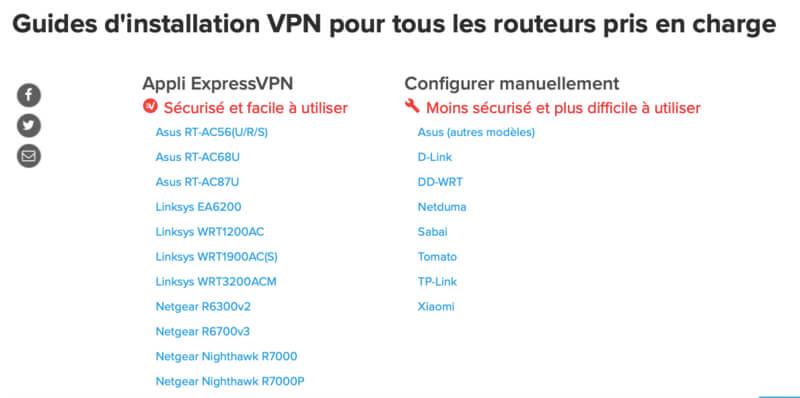 Routeurs compatibles
