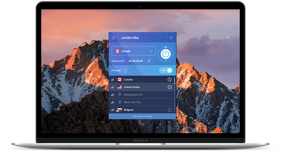 Windscribe interface