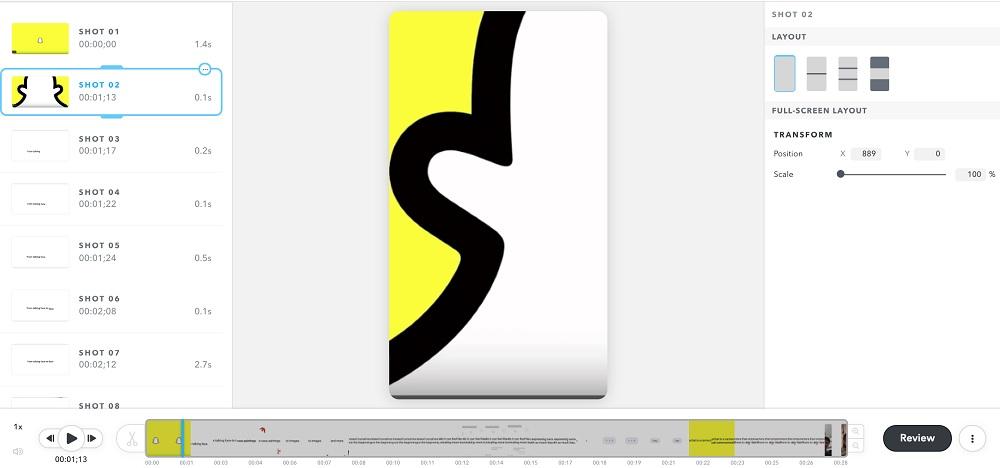 Conversion des vidéos horizontales sur Snap Publisher