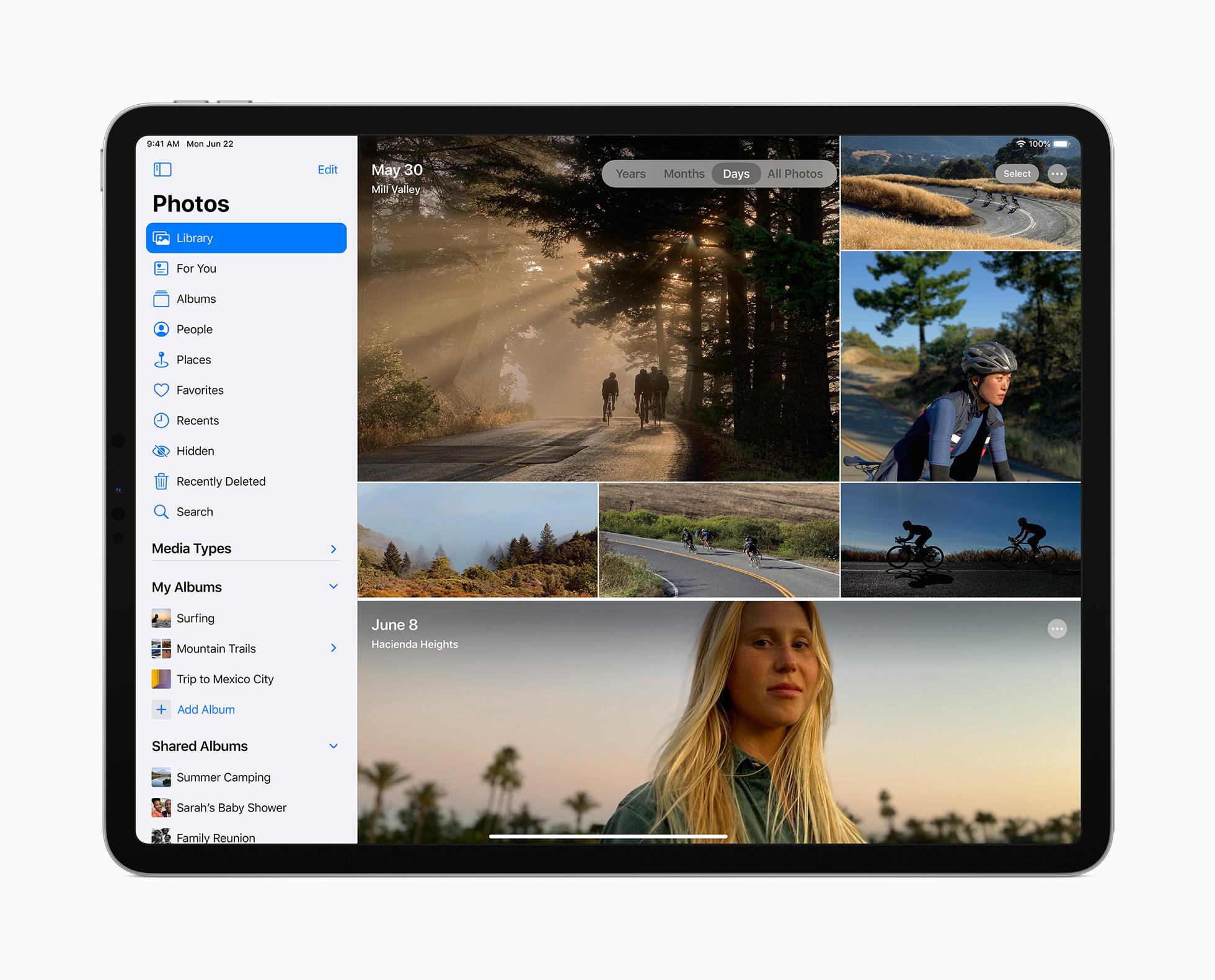 La nouvelle barre latérale sur l'app Photos de l'iPad