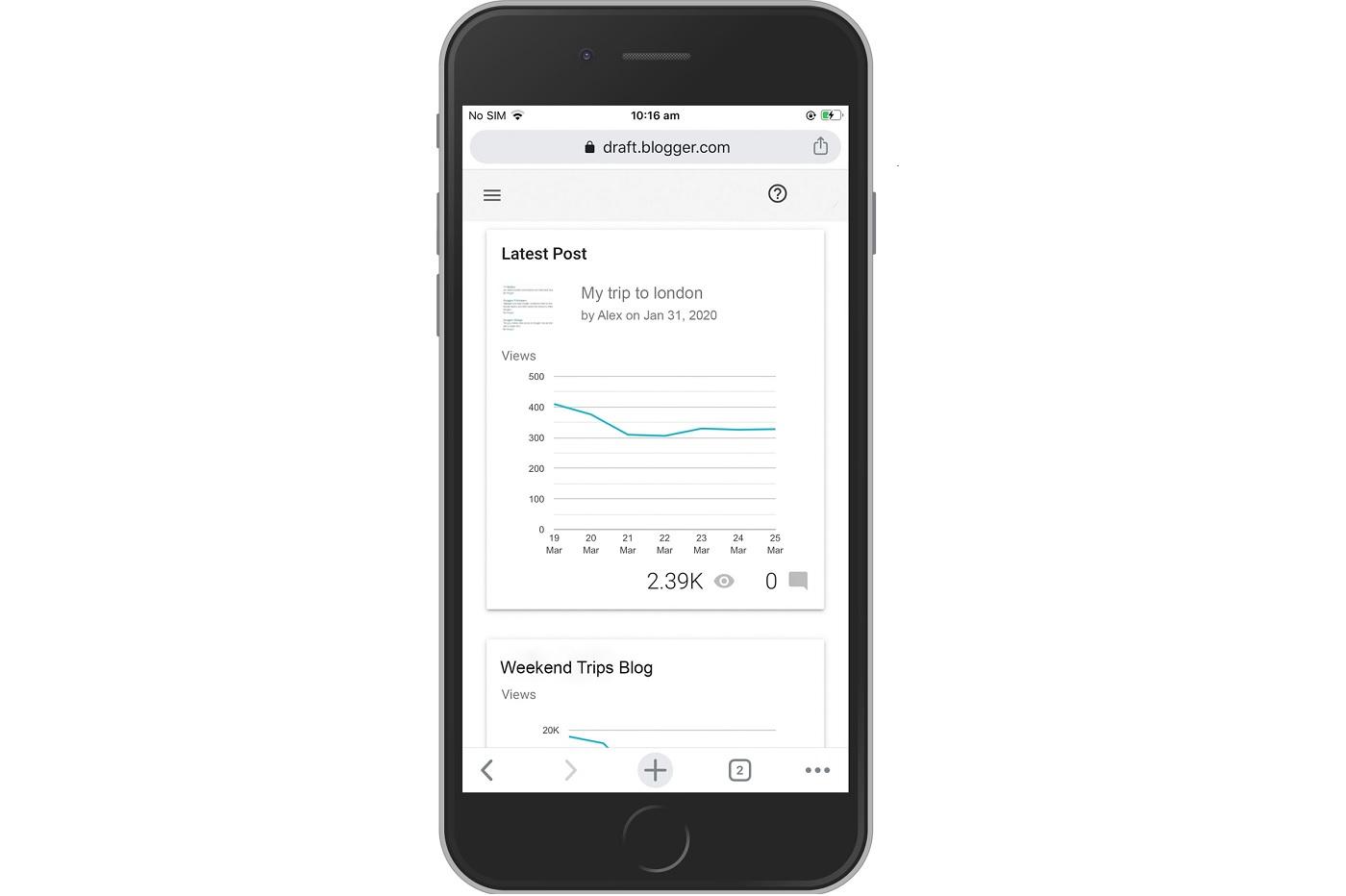 La nouvelle interface de Blogger sur mobile