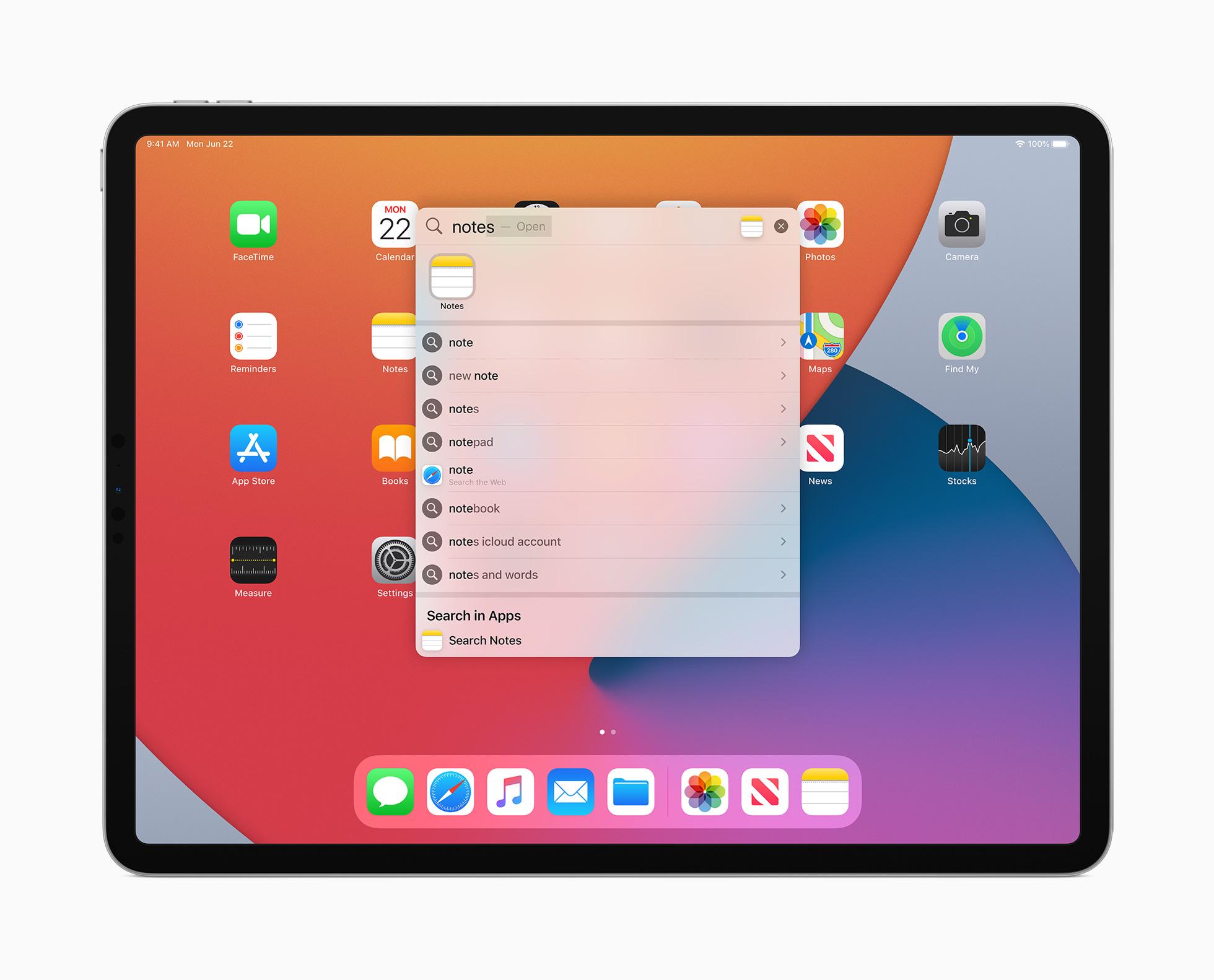 La recherche sur iPadOS