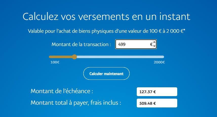 Paypal paiement 4 fois