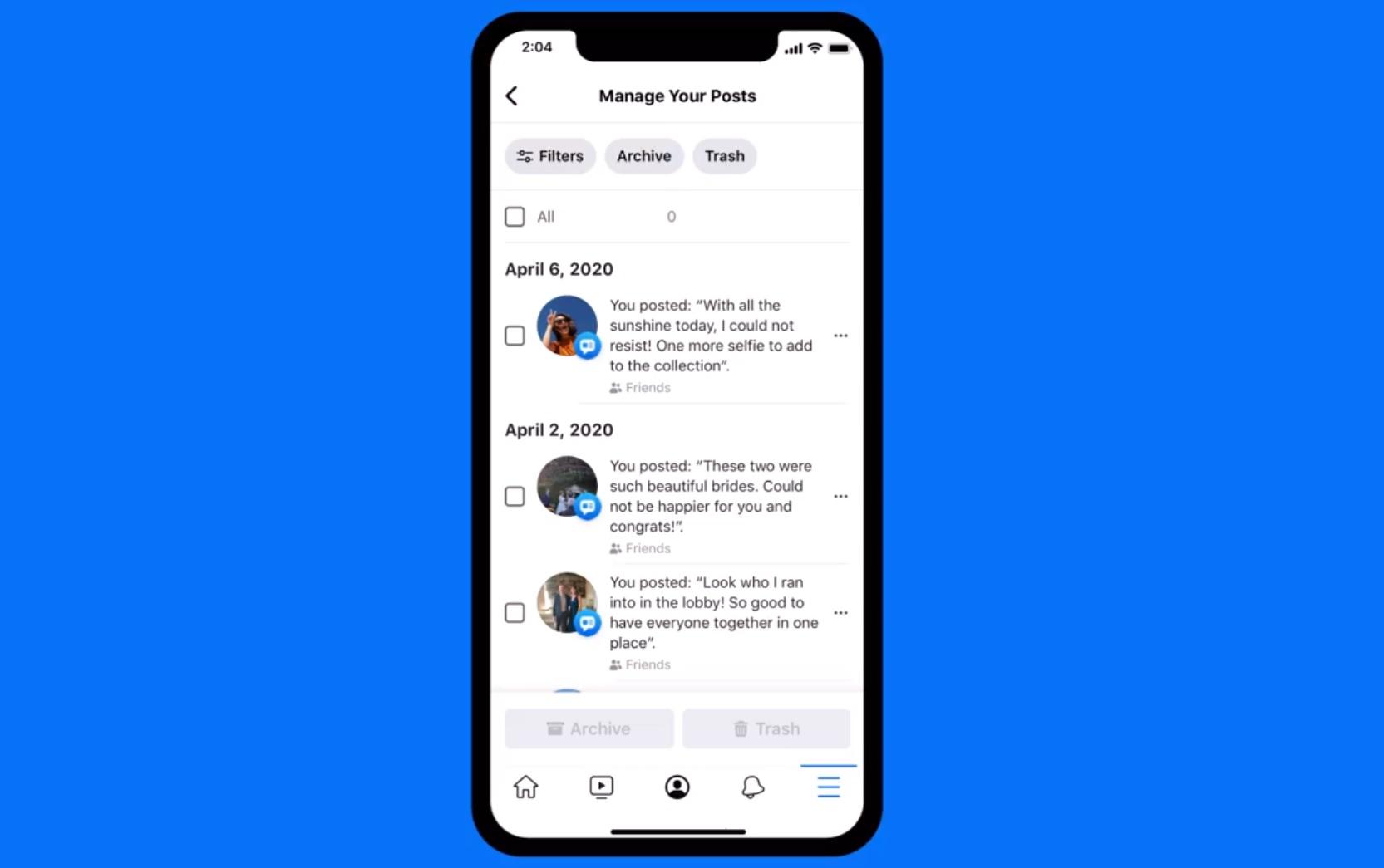 Suppression massive des publications sur Facebook