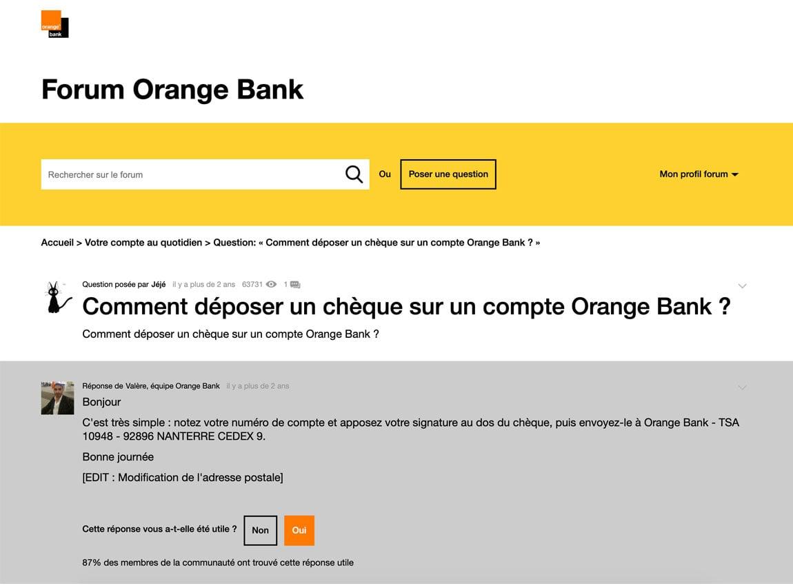 Orange Bank chèque