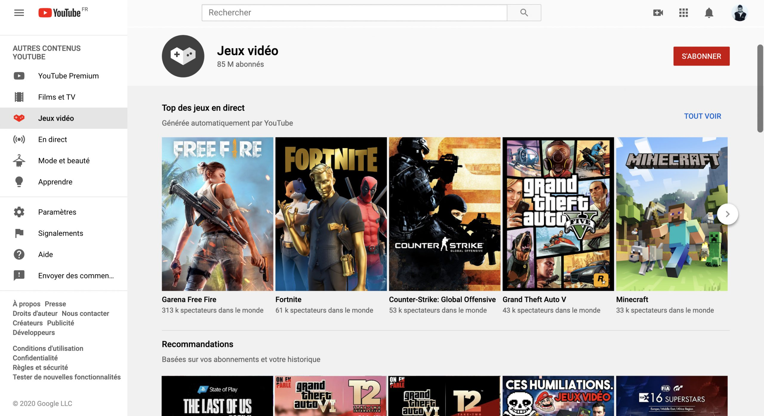 Page YouTube Gaming