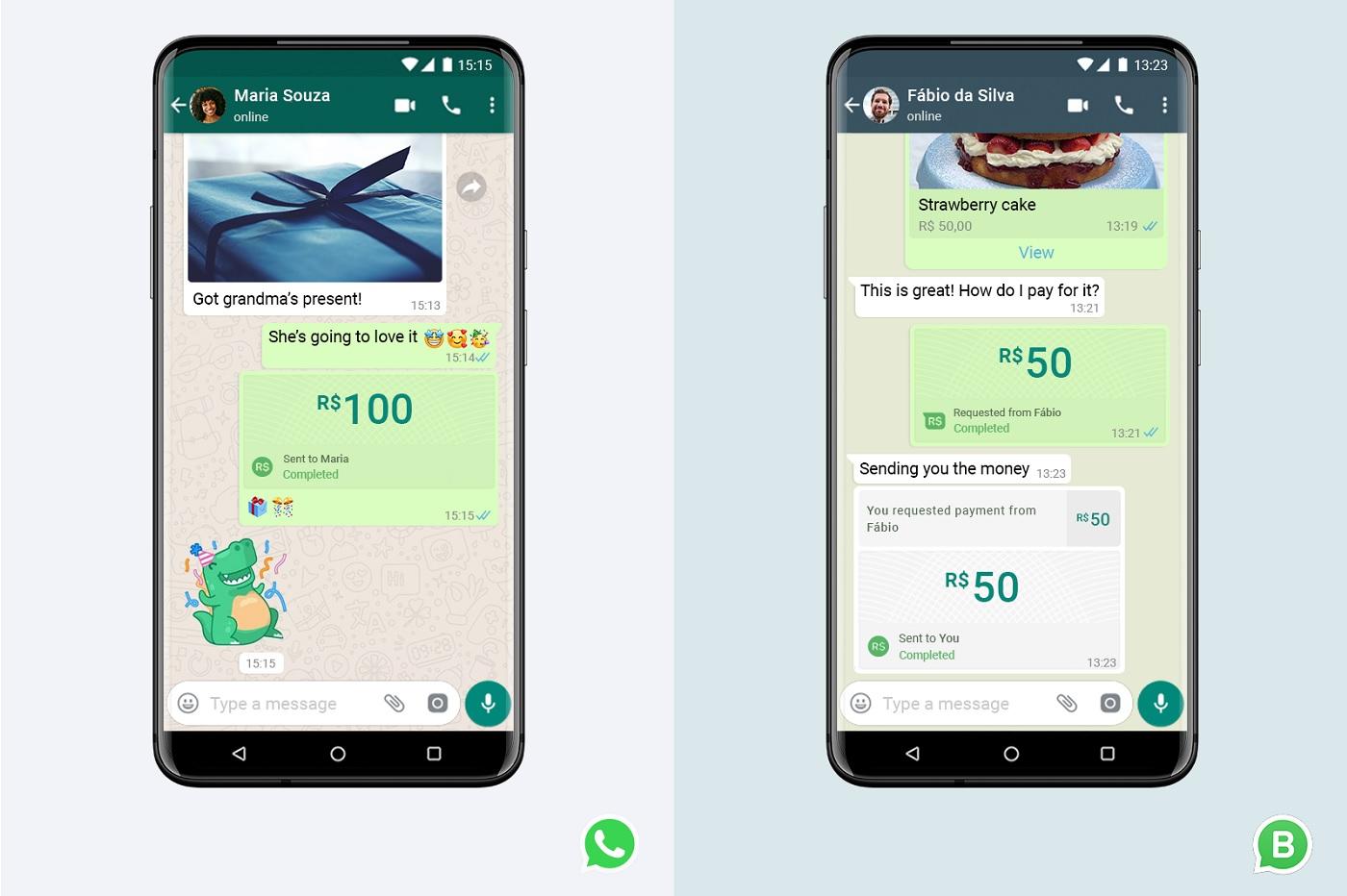 paiements sur WhatsApp