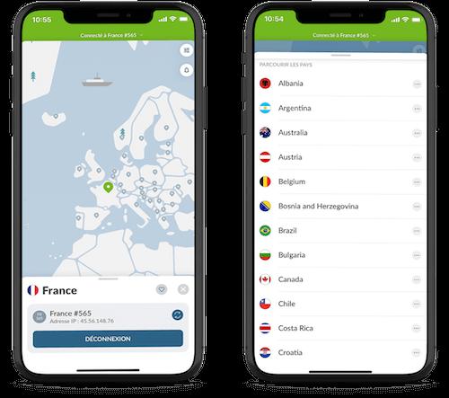 Application NordVPN iPhone