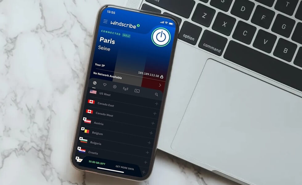 Application Windscribe iPhone