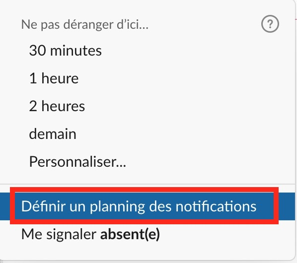 définir un planning des notifications