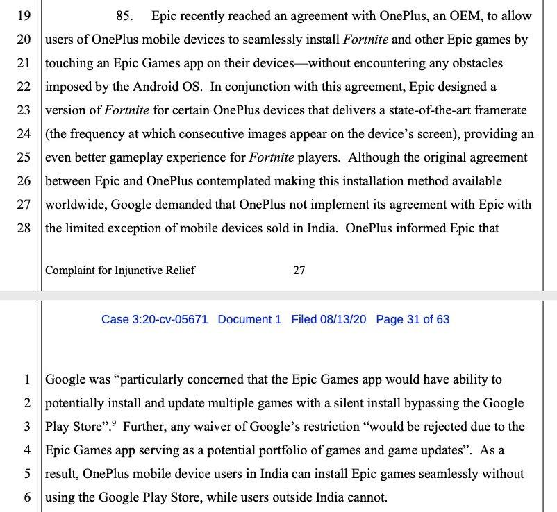 Epic Games plainte Google