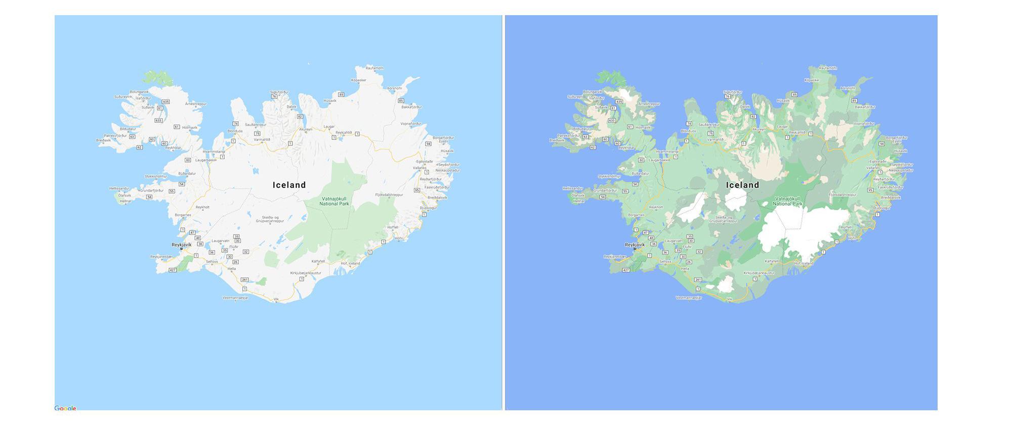 Google Maps mise à jour carte couleurs