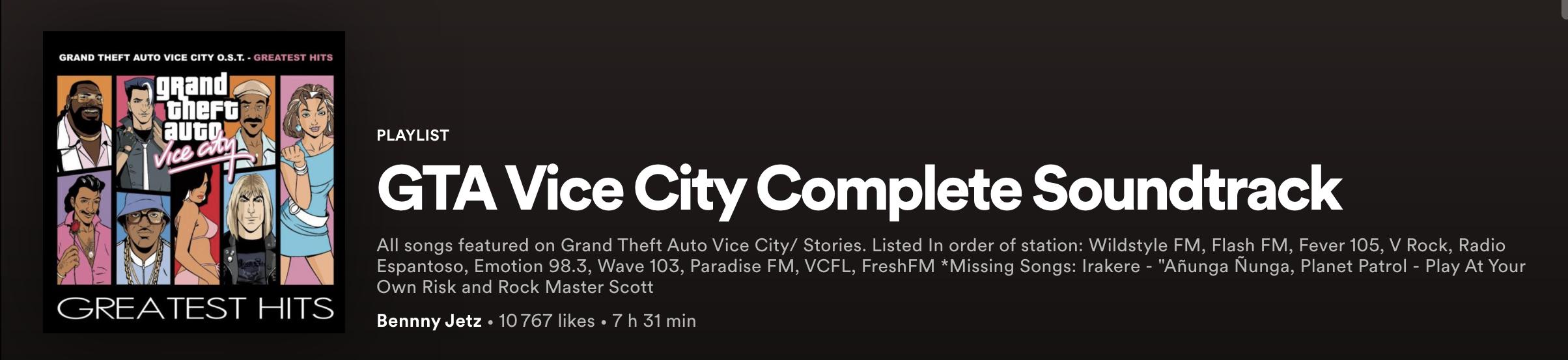 GTA Vice City Spotify